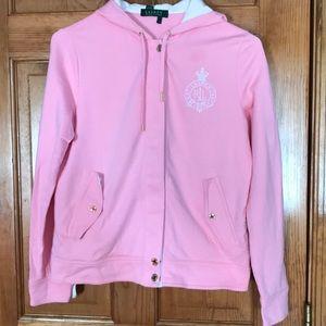 Women's Ralph Lauren pink & white zippered hoodie